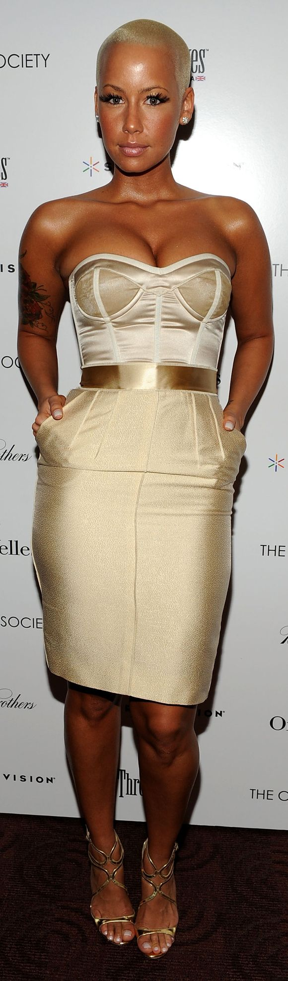 style gold nude fashion dress chic amber rose