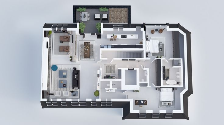 TOP PLAN  Residential design by Domestic Design  Visual by Ando Studio