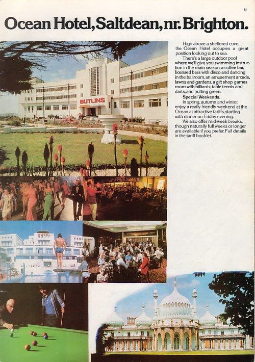 Page From A 1978 Butlin S Brochure Advertising The Ocean Hotel Saltdean Nr Brighton Was Later Demolished
