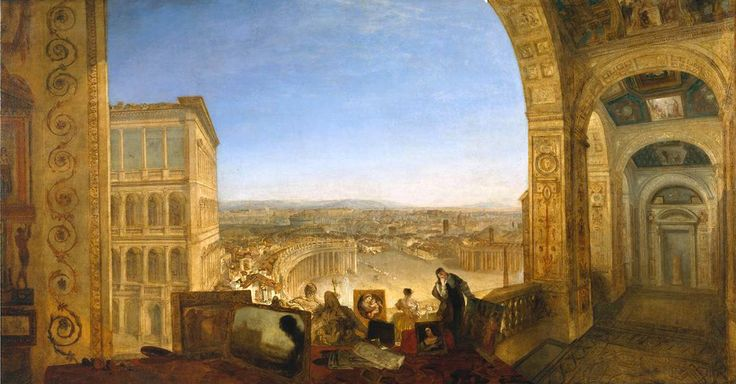 Joseph Mallord William Turner. Rome, from the Vatican. Raffaelle, Accompanied by La Fornarina, Preparing his Pictures for the Decoration of ...