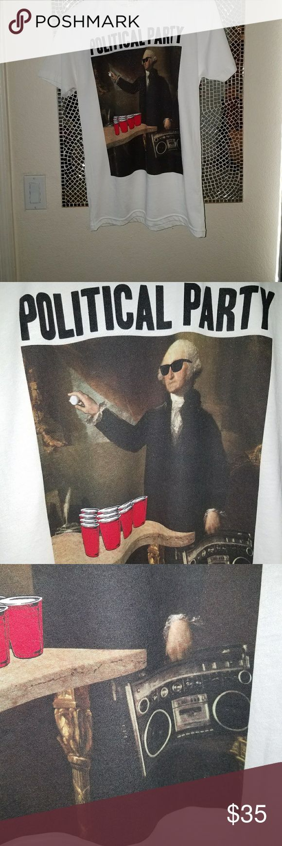 """Political Party shirt Political Party shirt!  Size small mens has grey marker stain on inside shirt. Sold out everywhere else. Riot Society Political Party tee. Graphic of George Washington playing beer pong with """"Political Party"""" screened on front. Short sleeve. Crew neck. 50% cotton/50% polyester. Machine wash. Made in USA. Tilly's Shirts Tees - Short Sleeve"""
