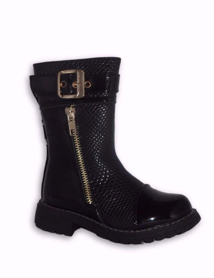 Girls Kids Black Winter Zip Boots Synthetic Fur Casual