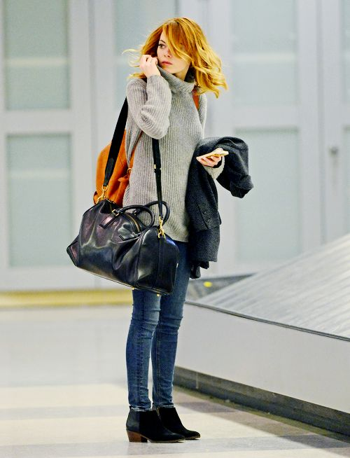 Emma Stone arriving at JFK Airport in New York, January 13th 2014