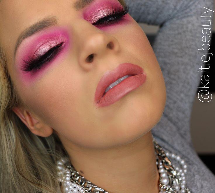 Makeup Artist- Kaitie Jalbert Pink Smokey Eye, Pink Glitter, Hot Pink Makeup, Fake Eyelashes, Makeup Forever