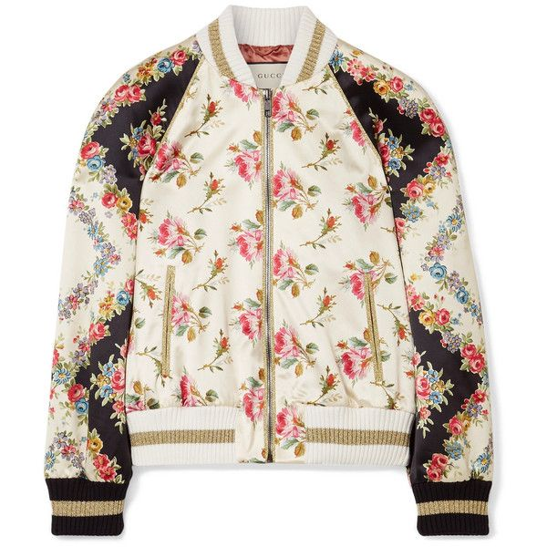 Gucci Appliquéd floral-print duchesse-silk bomber jacket ($3,400) ❤ liked on Polyvore featuring outerwear, jackets, ivory, floral bomber jackets, zip jacket, floral jacket, colorful sequin jacket and bomber style jacket