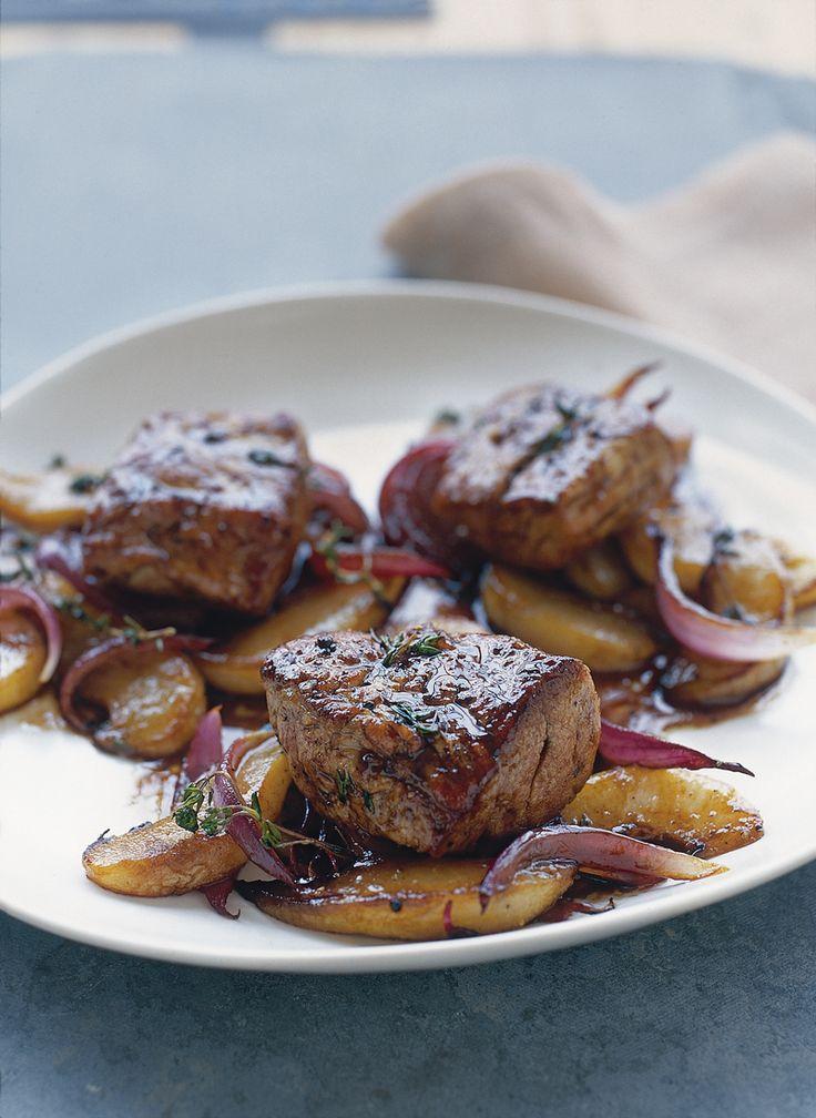 Glazed #Pork Tenderloin with #Pear and #Thyme