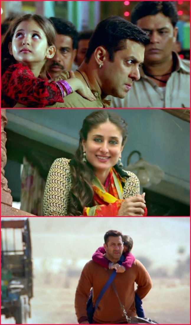 Salman Khan in and as Bajrangi Bhaijaan. Also seen: Kareena Kapoor. #Bollywood #Movies #BajrangiBhaijaan