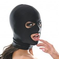 FETISH FANTASY 3 HOLE HOOD: A soft spandex hood that hides the face while keeping eyes and mouth free, this comfortable bondage must-have is perfect for beginners to fetish play, and a versatile staple for aficionados, too. Stretchy and comfortable, the lightweight, breathable fabric fits easily and snugly over the head. One size fits most. 100% spandex. Hand wash.