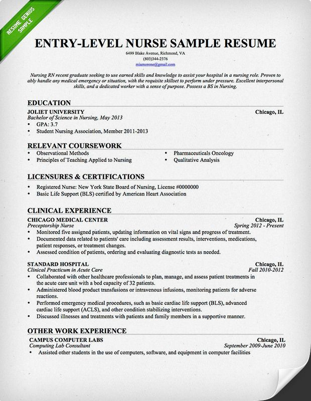 Entry-Level Nurse Resume Sample | Download this resume sample to use as a template for writing your own resume! Free resource from resumegenius.com