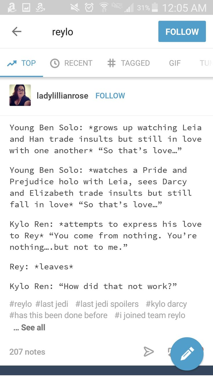 Okay...this actually makes some sense for the behavior.  Does not make it okay though, because Reylo screams all kinds of abusive behavior to me.