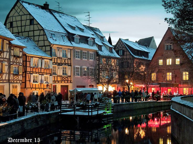 Colmar (France) Christmas market by the river