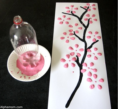 Do It Yourself: Cherry Blossom Art from a Recycled Soda Bottle