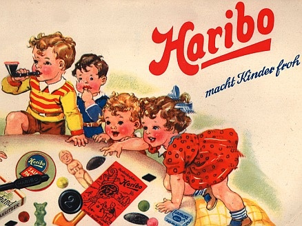 Haribo macht Kinder froh (Haribo makes children happy). Germany, ca. 1950  ad for German sweets' factory Haribo in Bonn, founded by Hans Riegel. the name is an acronym for HAns RIegel BOnn