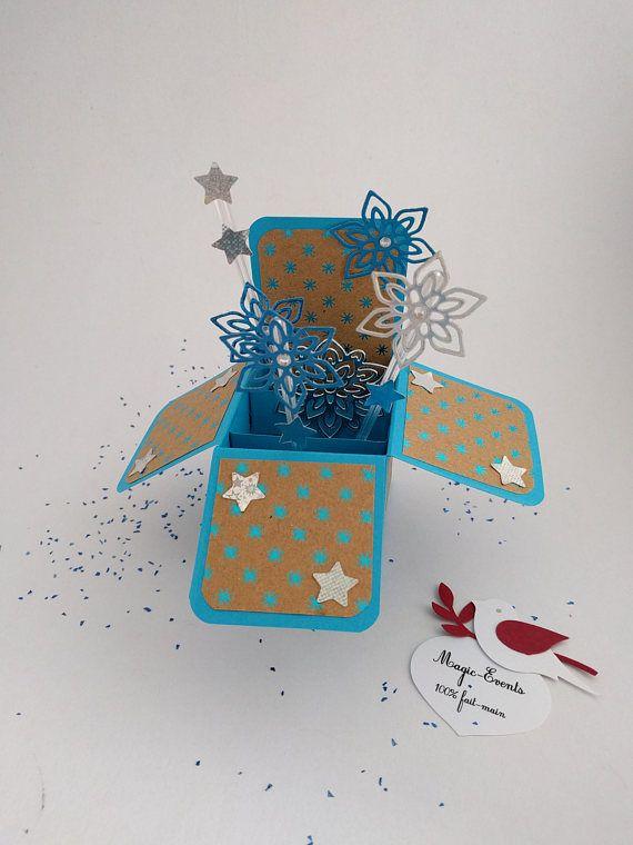 Carte boîte Pop-Up flocons de neige étoilés