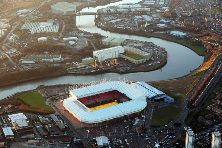 The River Wear winds past Sunderland's Stadium of Light