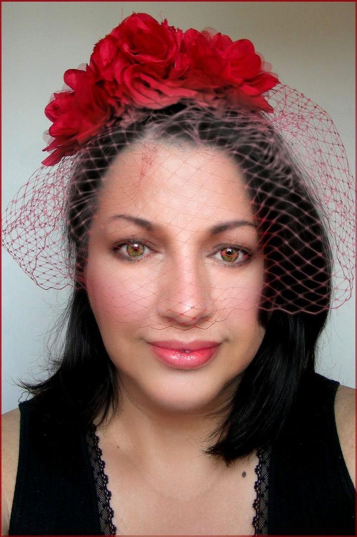 Serre-tête/Bibi - Fleurs Soie Rouge, voilette - Mariage, Coktail, soirée chic : Accessoires coiffure par ladyplazza