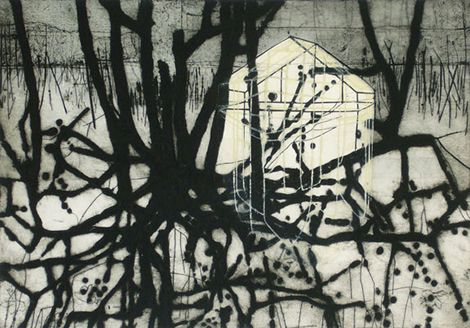Katherine Jones Roots |2009 | Collagraph and block-print on paper | 53.5 x 37.5cm