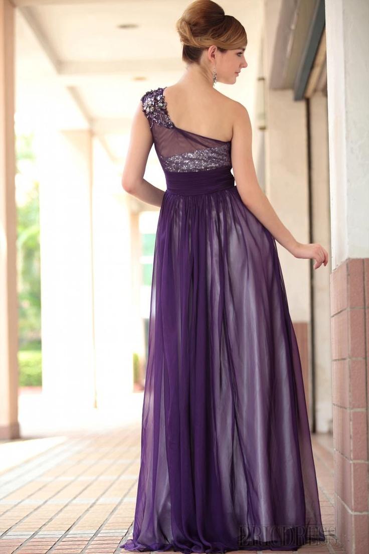 vestido largo fiesta en plata & morado (vestidos de gala de noche ...