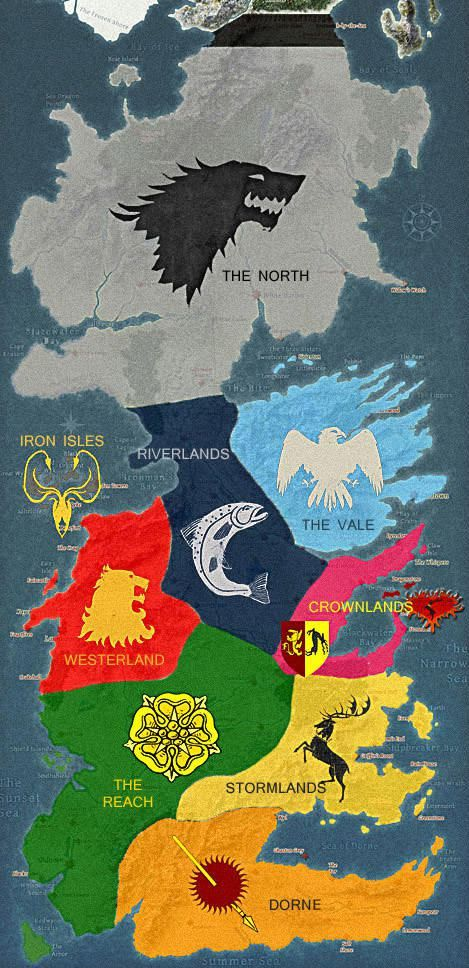 Map of Territories in Game of Thrones...just started watching the first season and i'm hooked!!! Winter is Coming.....