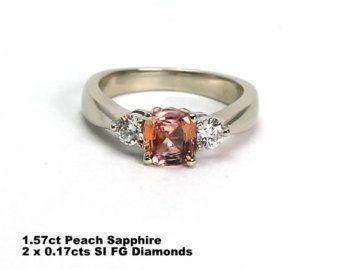Anillo de compromiso melocotón champán zafiro anillo de