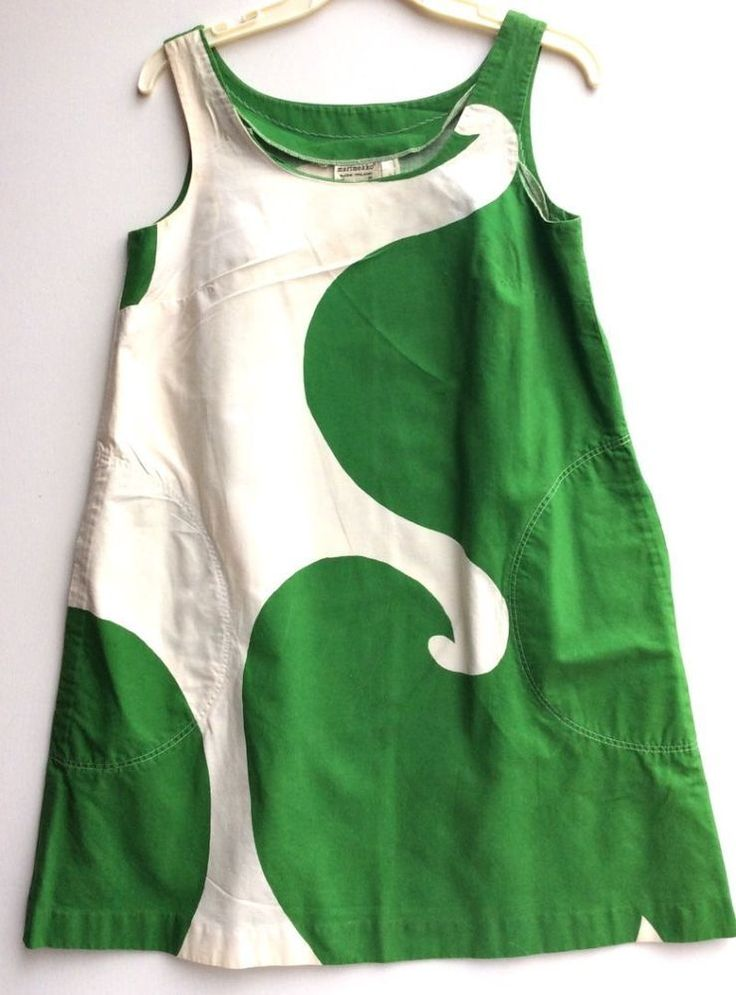 1967 MARIMEKKO vtg Finland trapeze COTTON DRESS 38 10 RARE! green floral mod #Marimekko #Sundress #Festive