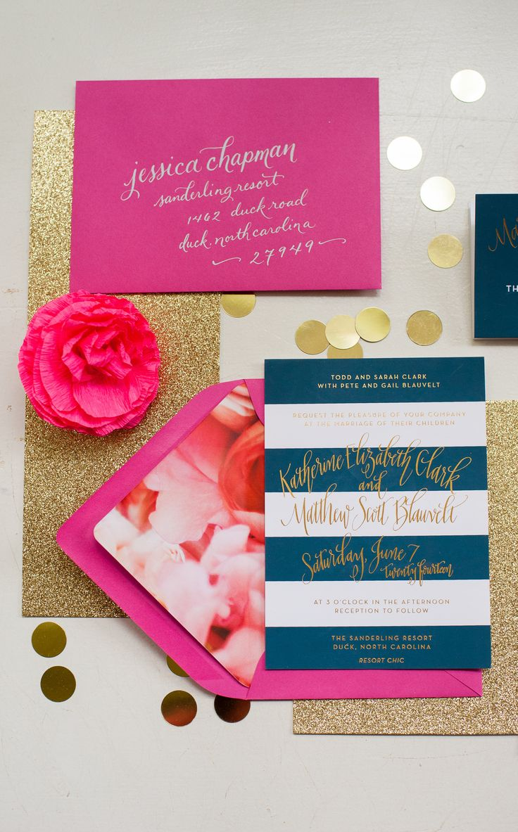 Preppy Navy, Gold and Fuchsia Stationery Suite by Fig. 2 Design I Photo by Meghan Elliott Photography https://www.theknot.com/marketplace/meaghan-elliott-photography-pittsburgh-pa-200095