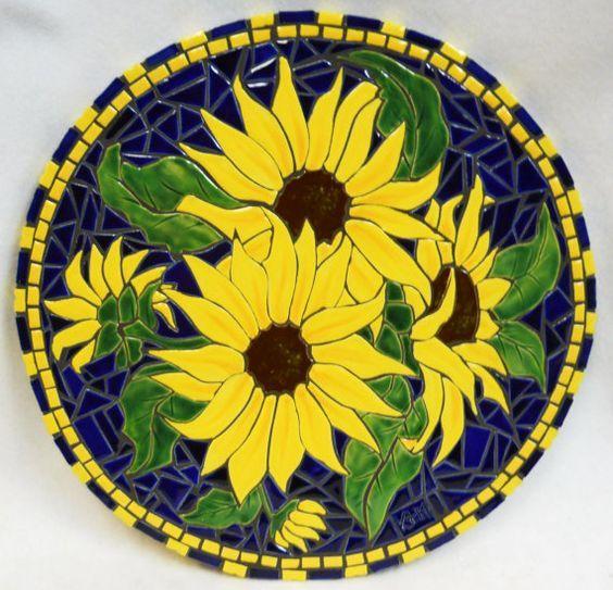 Mosaic Sunflowers Mosaic Flowers Mosaic Art Mosaic Wall