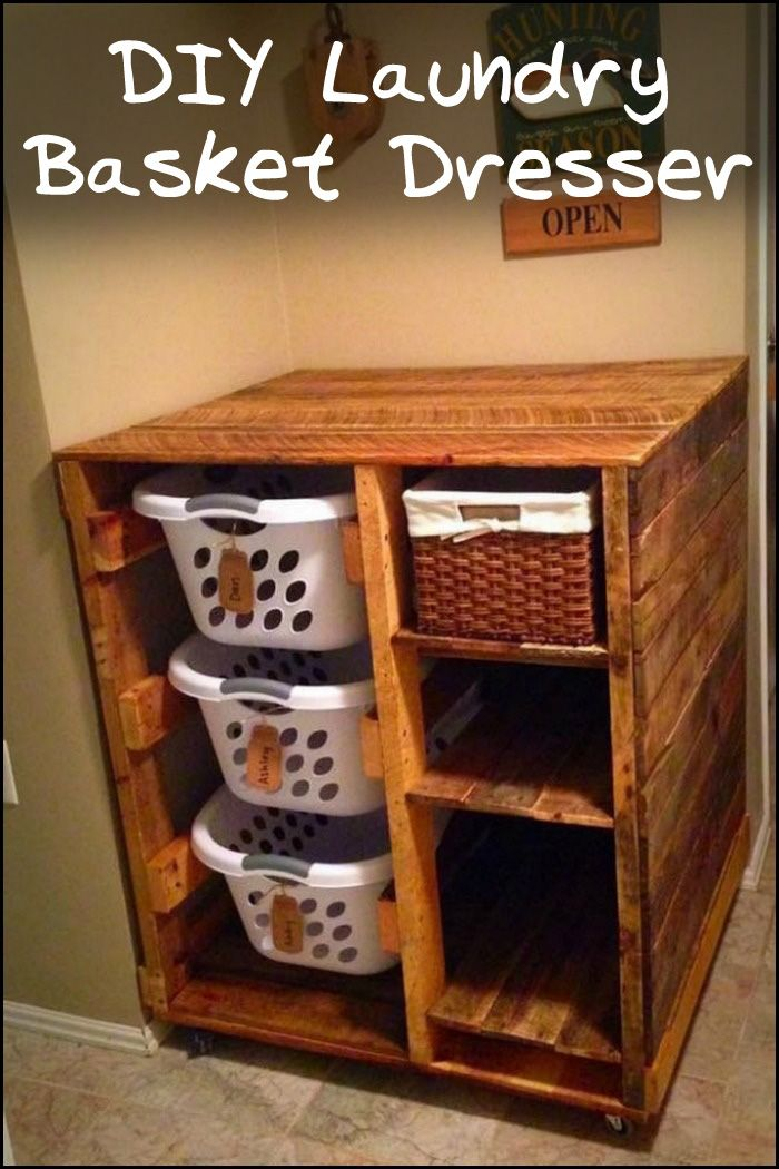 Organize your laundry area by building this DIY laundry basket dresser!
