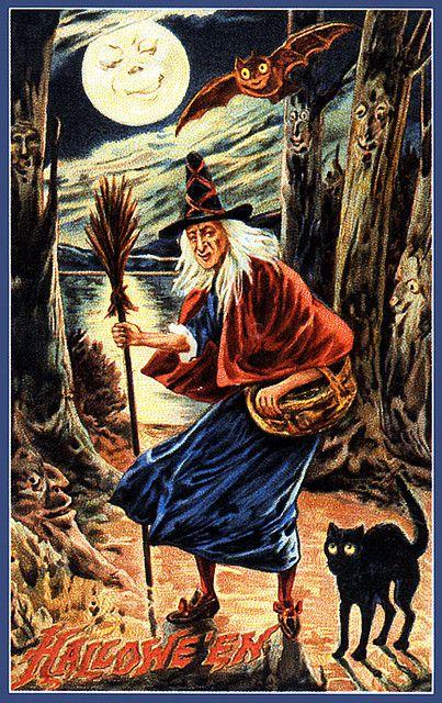 Moonlit Witch-- Vintage Halloween Postcard