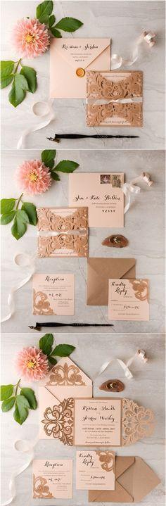 Rustic peach laser cut wedding invitations #rusticwedding #countrywedding…