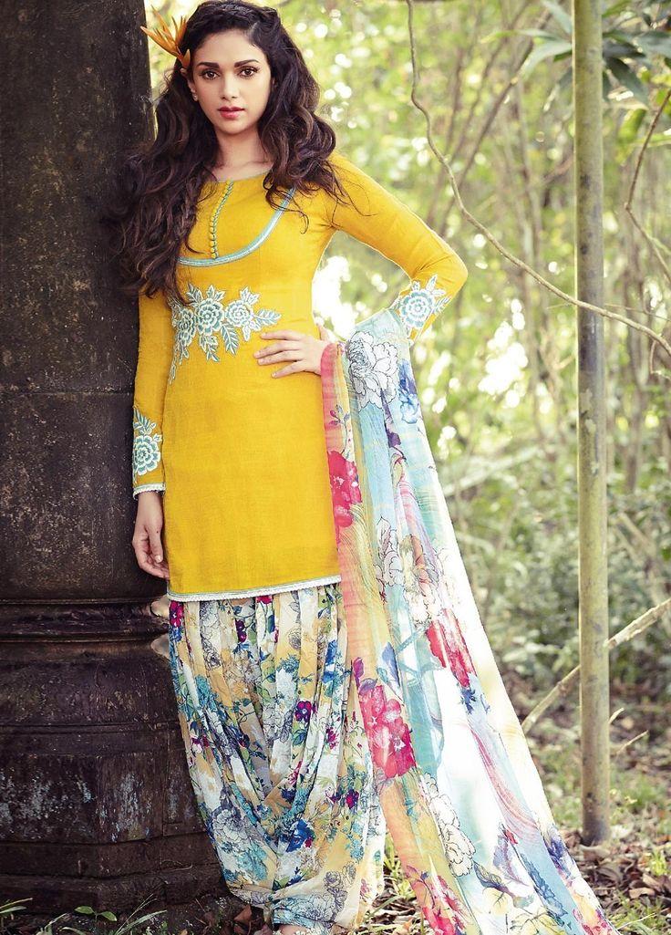 Aditi Rao Hydari Yellow Floral Punjabi Suit