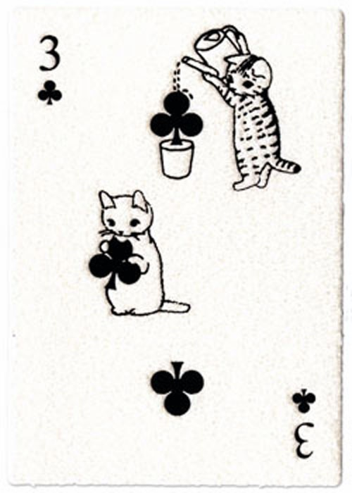 Postcard with playing card motif - Pottering Cat