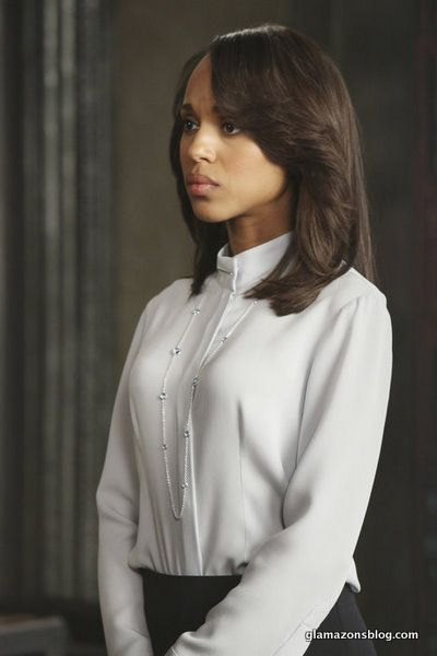 The simplicity of this blouse is GORGEGOUS!!  Love the long chain as well...  olivia pope | olivia-pope-scandal-fashion-armani-blue-blouse-ippolita-sterling ...