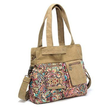 e44a3aca5133 Brenice Vintage Canvas Casual Floral Crossbody Shoulder Bag ...