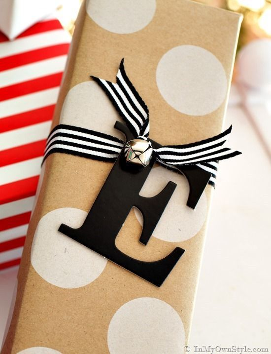 Use monogram letters instead of name tags for a nice clean look to your gift wrapping.
