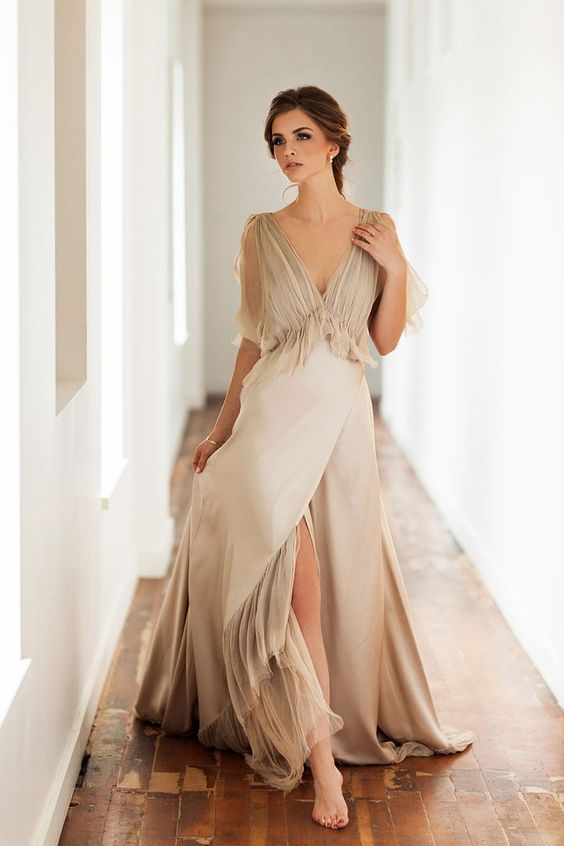 Champagne Wedding Dress with Slit