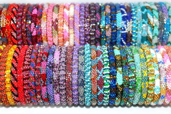 Nepal Roll On Bracelets Wholesale Collections- Czech Glass Seed Bead Bracelet Bangle Assorted Grab Bag- Bohemian Jewelry- Stocking Stuffers