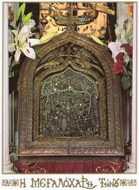 Παναγία Ιεροσολυμίτισσα: Η εικόνα της Μεγαλόχαρης στην Τήνο όπως είναι πίσω...