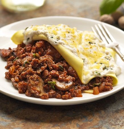 Quorn Meat Free Open Lasagne with Ricotta. Try this quick open lasagne recipe, made with layers Quorn Meat Free Mince in a tomato, mushroom and mushroom sauce and topped with ricotta cheese.