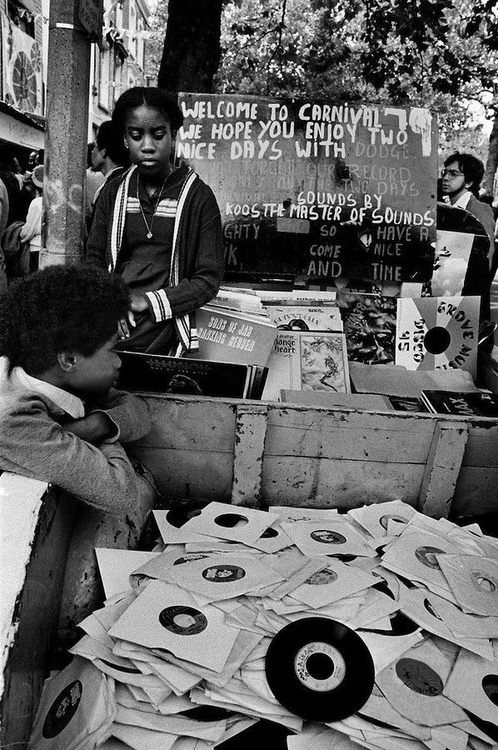 A record stall at the Notting Hill Carnival, London, 1989.