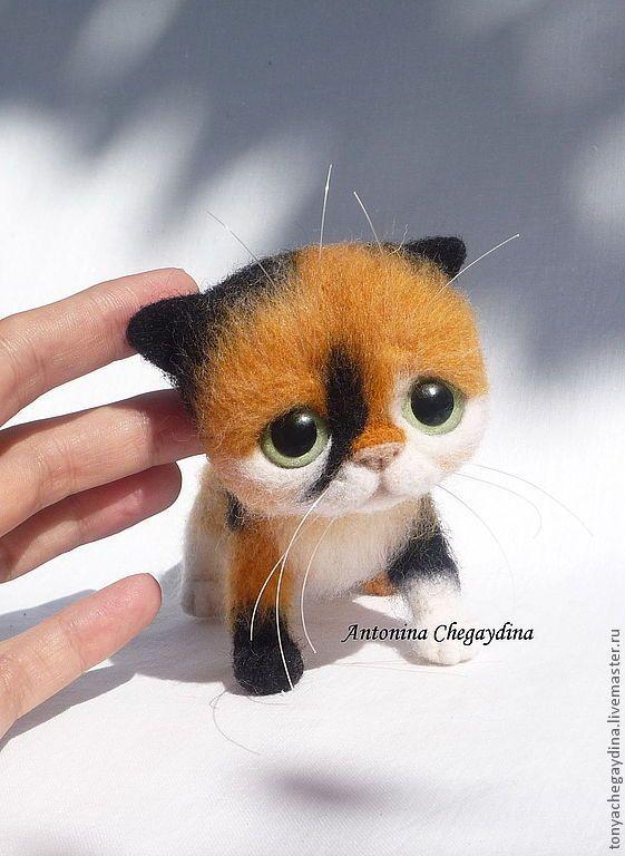 Купить Котенок валяный Крошка Маргошка - котенок, котенок валяный, котенок из шерсти, черепаховый котенок