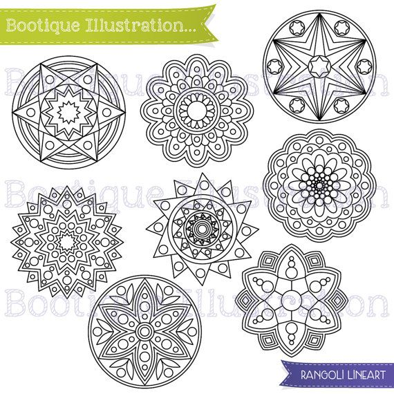 Randoli Line Art for Instant Download includes 12 geometric digital stamps including Diya, Om, Rangoli, Fireworks and Happy Diwali vector