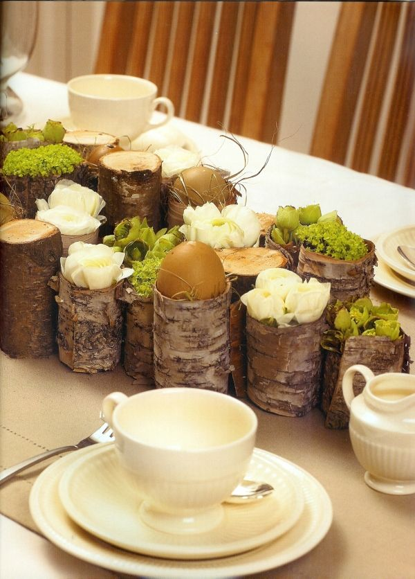 Eierständer ideen rustikale Tischdeko zu ostern-landhausstil