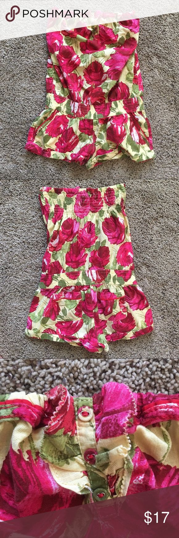 Abercrombie and Fitch Strapless Rose Romper Cute strapless romper made of 100% Cotton. The elastic is still in EUC. Make an offer if interested and I'm happy to answer any questions! All my clothing comes from a pet free and smoke free home Abercrombie & Fitch Pants Jumpsuits & Rompers
