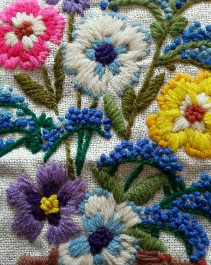 Flowers w/Basket Crewel Embroidery ~ Finished Completed ~ Colorful!!!