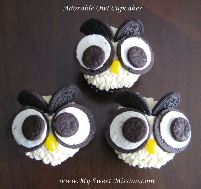 Get the steps to make my Adorable Owl Cupcakes at My Sweet Mission: http://www.my-sweet-mission.com/2013/03/adorable-owl-cupcakes.html