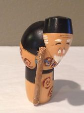 Vintage Authentic Japanese Old Man  Wooden Kokeshi  Dolls *SIGNED*