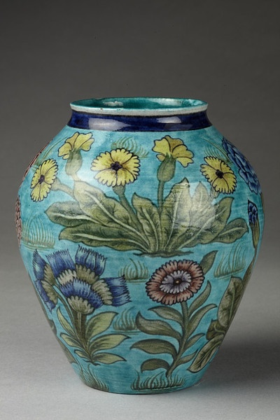 Vase by William de Morgan, Fulham, England, circa 1888-1898, earthenware with enamels