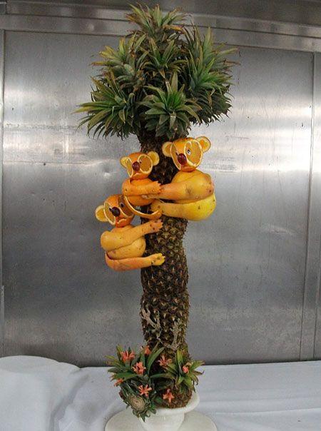 Orange koalas in a pineapple tree