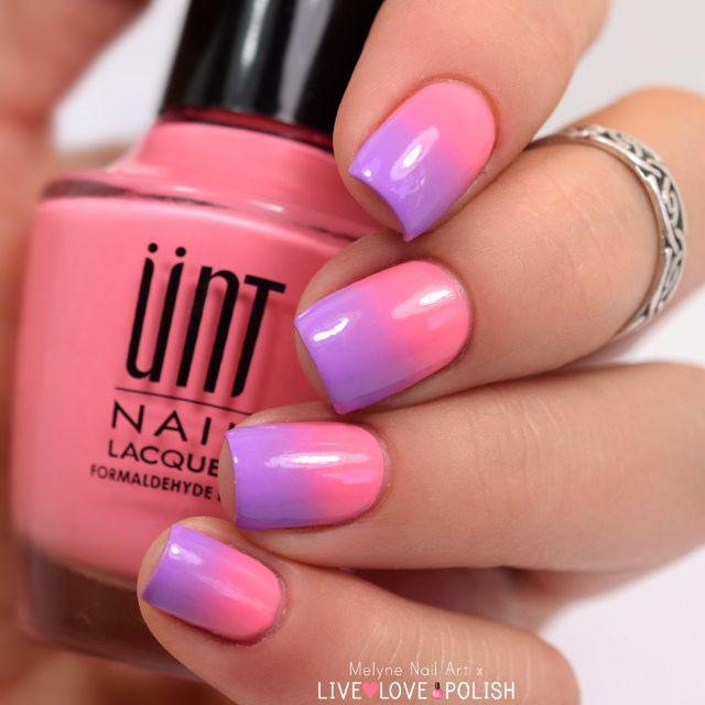 nail art dégradé rose et violet @xoxoLLP